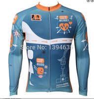 Wholesale Bicycling Sleeves Design - Wholesale-Heartbeat design bicycle clothing men 2015 new blue cycling jersey long sleeve bicicleta bike clothes ropa ciclismo jersey shirt