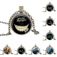 Wholesale Mad Cats - 2016 New Cheshire Cat Pendant, We're All Mad Here, Alice in Wonderland Necklace Glass Photo Cabochon Necklace