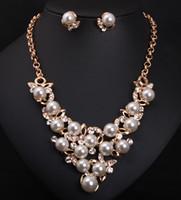 Wholesale Pearl Jewellery Set Gold - Fashion Pearl Jewelry Sets Women Wedding Jewelry Accessories Gold Bijoux Jewellery Sets For Women Necklace Earring Set