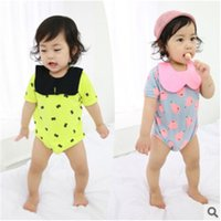 Wholesale Short Overalls For Baby Girls - Wholesale-2015 Summer Fruit Triangle Romper For Baby Girls One-Pieces Short Sleeve Overalls Lovely Cotton Jumpsuit