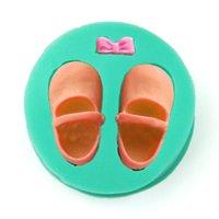 fondan ayakkabı kalıpları toptan satış-1 adet bebek ayakkabı silikon sabun kalıp fondan kek kalıp çikolata şeker dekorasyon aracı kek topper