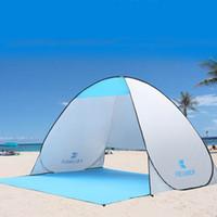 strandtöne kommen auf großhandel-Wholesale-Automatische Strandzelt UV-Schutz Pop-up-Zelt Sonnenschutz Markise mit Matte