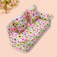 Wholesale Doll House Sofa - 2016 New Mini Dollhouse Furniture Flower Sofa Couch +2 Cushions Doll House Toys Free Shipping #479