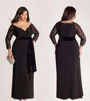 Wholesale Shoulder Off Long Sleeve Dresses - Modest Column Plus Size Evening Dresses Off-Shoulder Neck Black Chiffon 3 4 Long Sleeves with Lace Floor-Length New 2015 Custom Party Gowns
