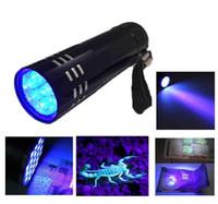Wholesale Uv Violet - 2015 New Mini AlumMinum UV ULTRA VIOLET 9 LED FLASHLIGHT BLACKLIGHT Torch Light Lamp