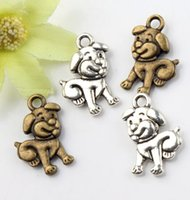 Wholesale Dog Pendant Earring - 120pcs lot 11.5x16.8mm Antique Silver Bronze Cute Tummy Dog Charms Pendants Jewelry DIY Fit Bracelets Necklace Earrings L116