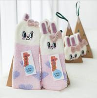 Wholesale Indoor Floor Socks - 12pcs lot Christmas socks Gift 3D Design Fluffy Coral Velvet Thick Warm Sock For Women Towel Floor Sleeping Socks with Gift Box