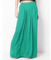 Wholesale Green Colored Roses - Wholesale- 2017Female Celebrity Style Pastel Candy Colored Long Skirt Pleated Skirt Plus Size For Woman Skirts Color Blue Green Rose red TO