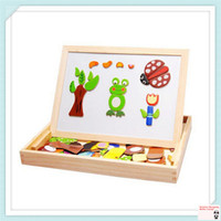 Wholesale Multifunctional educational wooden magnetic puzzle toys for children kids toys wooden toys jigsaw baby s erasable drawing board