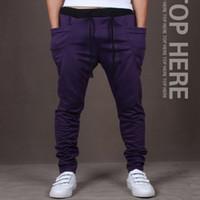Wholesale Perfume L - Cotton Drop Crotch Harem Pants Men Hip Hop Dance Autumn Clothing Drawstring Sport Harlem Joggers Sweatpants Perfume Masculino