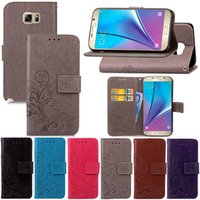Wholesale Galaxy Note Case 5pcs - Flower print skin Flip wallet leather case Stand cover card holder cases For Samsung Galaxy Note 8 7 5 4 3 5pcs
