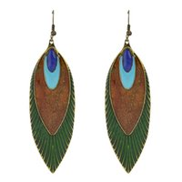 Wholesale Design Feather Earring - New Fashion Design Indian Jewelry Leaf Earrings Ethnic Style Feather Shape Long Dangle Earrings For Women