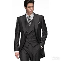 Tailcoat black western vest - Western Style Black Slim Fit Wedding Tailcoats Custom Made Mens Suits Breasted Buttons Prom Dress Suits Jacket Pants Vest Tie Hanky