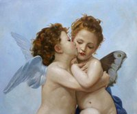 Wholesale Handpainted High Quality Bouguereau Paint - art Painting Modern,oil on canvas,First Kiss by William Adolphe Bouguereau,High Quality,Handmade