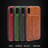 Compra Auto Di Copertura In Pelle-Per Apple iPhone X 8 7 6 Plus Custodia in pelle per slot per schede di pelle Cover per protegge per Kickstand per Samsung Note 8 S8 Plus