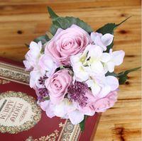 Wholesale cheap red bridal bouquets - Silk Flower Wedding Bouquet Roses Dahlias Artificial Flowers Cheap Fall Vivid Fake Leaf Wedding Flower Bridal Bouquet Decoration