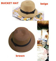 Wholesale Hats Wholes Sales - Wholesale-Free shipping+10pcs lot+Whole sale Fashion Dome Bowtie Straw Hat cap,Bucket Hat