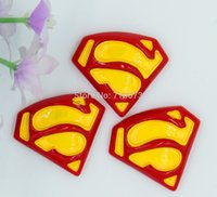 Wholesale Wholesale Logo Cabochons - Wholesale-Whole sale new arrival flatback resin superman logo resin cabochons 6pcs lot free shipping