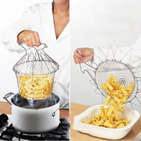 Wholesale Fry Baskets - New Arrive Foldable Steam Rinse Strain Fry Chef Basket Strainer Net Kitchen Cooking Tool