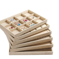 Wholesale Linen Necklace Stands - Upscale Linen Jewelry Display Tray Jewelry Box Rings Jade Necklace Pendant Earring Bracelets Bangles Tray Jewelry Show Storage Stand Holder