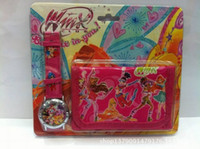 Wholesale Winx Watch Wholesale - Wholesale-1Pcs Lot Hot Selling Cartoon Winx Clup Watch and Wallet Set for Girls JK-617