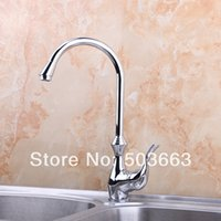 Wholesale Discounted Kitchen Faucets - Wholesale-Great Discount Swivel Polished Chrome Brass Bibcock Kitchen Faucet Spout Vessel Sink Single Handle Deck Mounted Mixer Tap MF-405