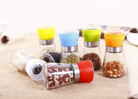 Wholesale Plastic Salt Pepper Grinders - Glass Pepper set Salt Herb Spice Hand Grinder Mill manual pepper mill Free Shipping Creative kitchen tool ..