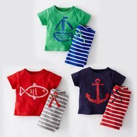 Wholesale Clothes Baby Anchor - Baby Clothes Boys Cartoon anchor fish Striped Casual Suits Sailboat Sets Short Sleeve Top +Striped Pants 2pcs suit Children Clothes