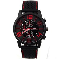 Wholesale Silicone Bag Watch - 2015 Bags Of Mail Selling Gt Black Silicone Strap Watch Wholesale Fashion Leisure Sports Mens Watches Top Brand Luxury Men