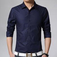 blusas de moda china venda por atacado-Atacado-Homens Casuais Camisas de Manga Longa Homem Branco Moda Vestido Slim Fit Camisa Regular Social Checker Importado-China Blusas 2017
