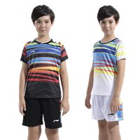 Wholesale Tennis Suits Girls - Children Li Ning badminton shirt table tennis suit boys girls tennis wear sportswear clothes polyester quick drying badminton sets XS-3XL