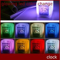 Wholesale Night Glow Clock - Design LED Alarm Clock 7 Colorful Change Glowing Digital Alarm Clock in Night 20 pcs up Free Shipping