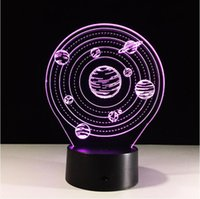 Wholesale Night Planets - Wholesale- 3D Visual Planet LED Table Lamp Calming 3D Vision Illusion Desk Lamp 7 Color Changing 3D LED Night Light dropshipping