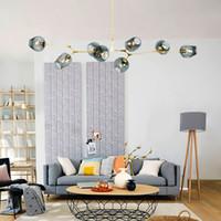 Wholesale industrial pendant lighting online - Vintage Loft Industrial Pendant Light with Led Bulb Black Gold Bar Stair Dining Room Glass Shade Retro Lindsey Adelman Pendant Lamp Fixtures