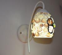 lumières méditerranéennes achat en gros de-Fleurs de verre de chevet de chambre à coucher coquille simple lampe frontale, éclairage de couloir applique murale méditerranéenne E27. Miroirs européens, applique de salle de bain