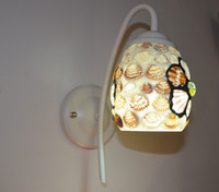 europäischer badspiegel großhandel-Schlafzimmer-Nacht-Glasblumen schält einzelne Scheinwerferlampe, Ganglichter mediterrane E27 Wandleuchte. Europäische Spiegelleuchten, Badezimmerwandleuchte
