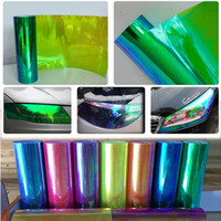 Wholesale Green Chameleon Carbon Fiber Wrap - 0.3x10m(1x33ft) car light decoration tint chameleon headlight film green Neo Chameleon Color Tint Vinyl Wrap