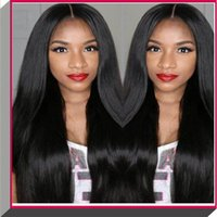 Wholesale Machine Lace Wigs Human - 100% long stright black color soft human hair silk top full lace wig
