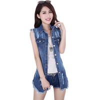denim colete jeans mulheres venda por atacado-Atacado-2015 verão novo feminino denim colete estilo coreano mulheres sem mangas jeans longo coletes jaqueta casual mulher roupas de cowboy grande tamanho 5xl