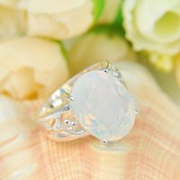 Wholesale Statement Pieces Wholesale - 10 Pieces 1 lot Trendy Statement Fire Rainbow Moonstone Gems 925 Sterling Silver Rings Russia American Australia Weddings Rings Jewelry Gift