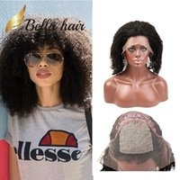 Wholesale Brazilian Afro Lace Wig - SILK BASE TOP FULL LACE WIG KINKY CURLY HUMAN HAIR BELLA 100% UNPROCESSED AFRO AFRICAN KINKY CURLY HAIR LACES