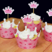 Wholesale Crown Cupcake - Movie Crown Princess Cupcake Wrapper Decorating Boxes Cake Cup With Toppers Picks For Kids Birthday Christmas Decorations Supplies