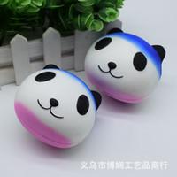tier brot brötchen matschig großhandel-8,5 cm * 8 cm * 7 cm Kawaii Jumbo Weiche Squishy Panda Brötchen Brot Tasche Handy Gurt Niedlichen Tier Panda Charme Gelegentliches Muster