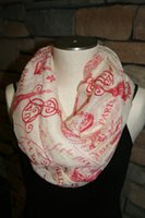Wholesale Eifel Tower - Paris Eifel Tower Cafe Village Red Pattern Infinity scarf-Fashion Print Scarf