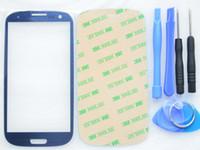 mavi s3 dokunmatik ekran toptan satış-I9300 Çakıl Mavi Lens Cam Değiştirme Samsung Galaxy S3 i9305 Ücretsiz Araç Kitleri Ile LCD Dokunmatik Ekran Ön Cam Yapıştırıcı