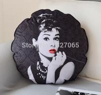 Wholesale pillow shams resale online - New Classic Black Audrey Hepburn Velvet Round Pillow Case Sham