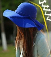 Wholesale Ladies Wool Church Hat - New Arrival Retro style women lady Wide Brim Wool bowler hats costume during the spring and autumn winter cloche elegant natural style