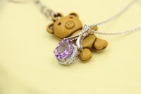 Colar S925 Sterling Silver Jewelry Pendente Display The Hollow Out Purple Crystal Acessórios exclusivos no casamento e Py