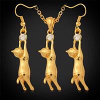 pendientes de oro para niños 18k al por mayor-Precioso 18K chapado en oro lindo gato colgante collar pendientes Rhinestone joyería de moda set regalo para niños niñas