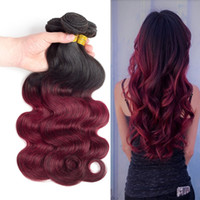 Wholesale Smooth Waves Hair - Red Ombre Hair Brazilian Body Wave 3 4 Bundles Dark Red 1B 99J Brazilian Hair Human Hair Weavings Soft Smooth Bouncy Silky Untangled Full